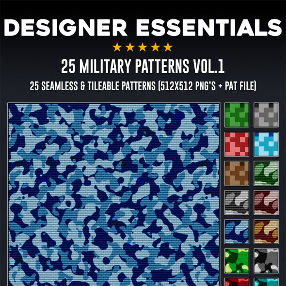 25 Tileable / Seamless Military Patterns