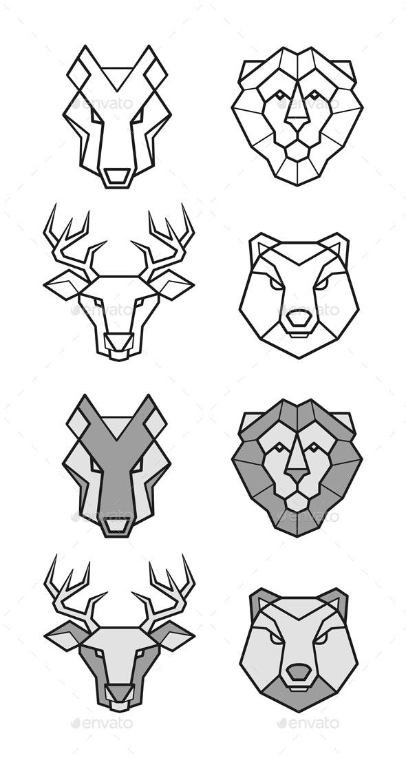 Wild Animals Geometric Heads Set by Teneresa | GraphicRiver