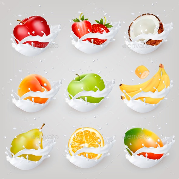 Big Сollection Of Fruit And Berries In Milk Splash. - Food Objects