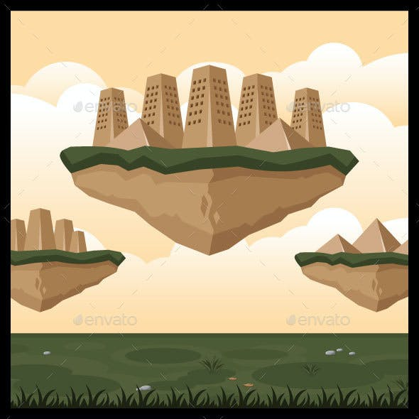 Flying City Game Background