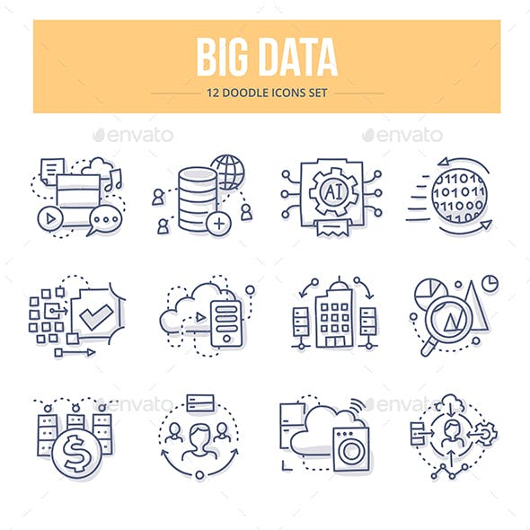 Big Data Doodle Icons