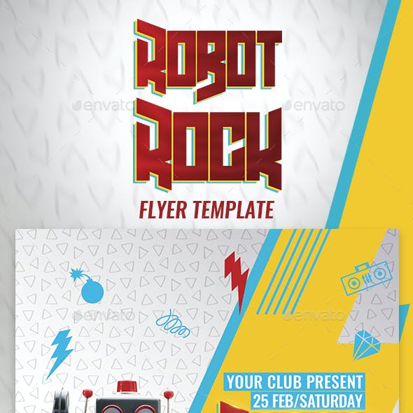 Robot Rock Flyer Template