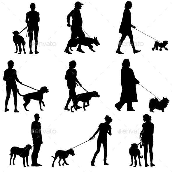 Sillhouette of People and Dog - People Characters