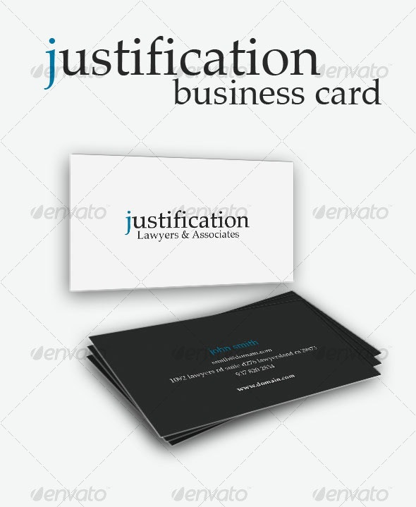 Justification Business Card - Corporate Business Cards