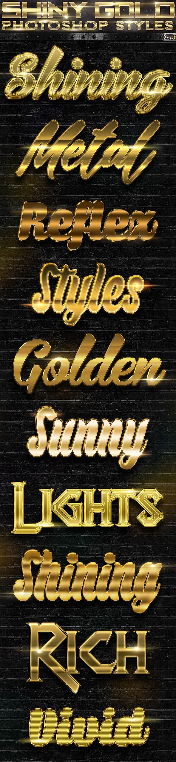 Shiny Gold Photoshop Styles 2of3 - Text Effects Actions