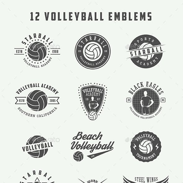 12 Volleyball Emblems
