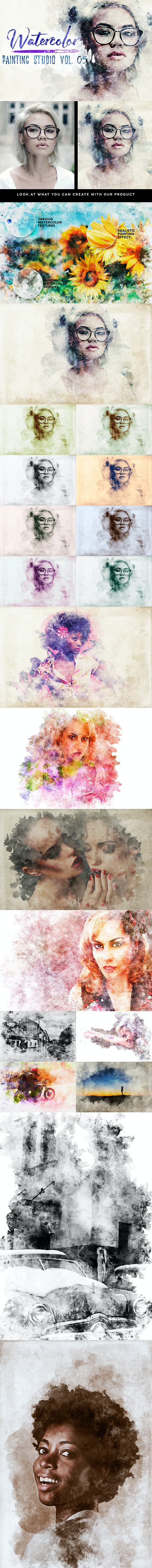 Watercolor Painting Studio Vol. 05 - Photoshop Add-ons