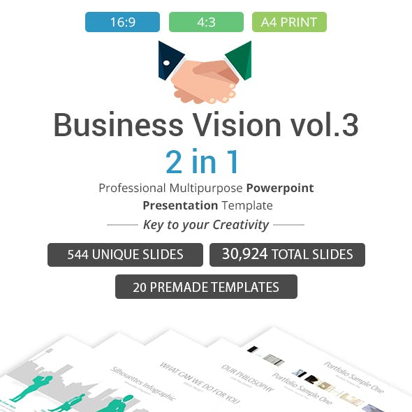 Business vision vol.3 - 2 in 1 PowerPoint Template Bundle