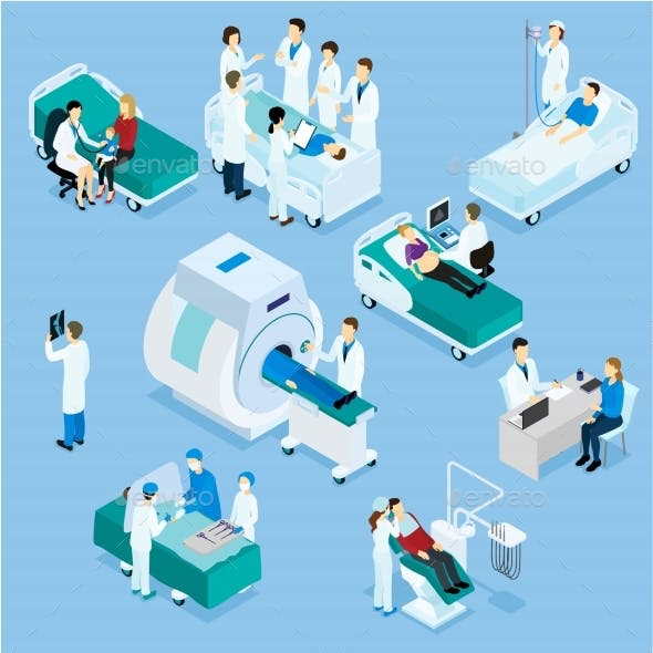 Doctor And Patient Isometric Set