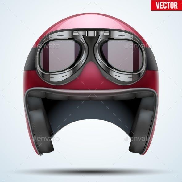 Vintage Motorcycle Helmet with Goggles