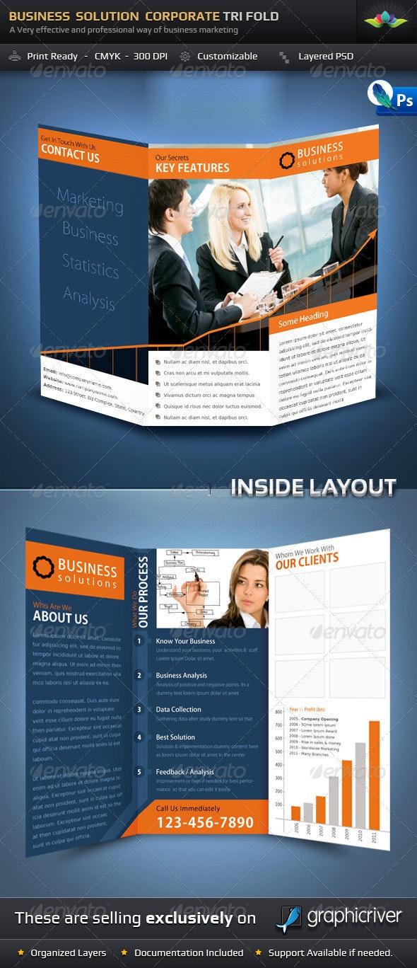 Business Solution Corporate Tri Fold Brochure - Corporate Brochures