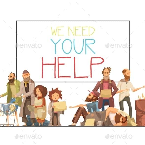 Homeless People Cartoon Style Illustration