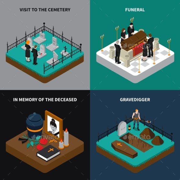 Funeral Isometric Concept