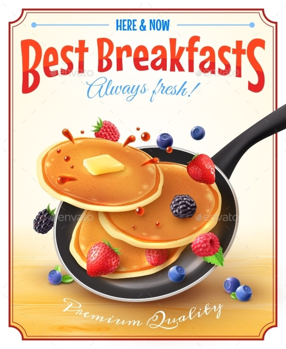 Breakfasts Vintage Advertisement Poster - Food Objects