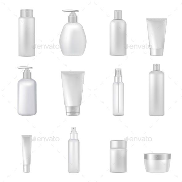 Cosmetics Bottles Tubes Empty Clear Set