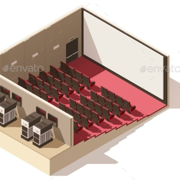 Isometric Low Poly Movie Theater Cutaway