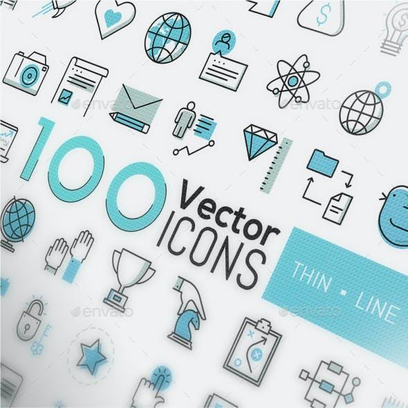 400 Thin Line Icons