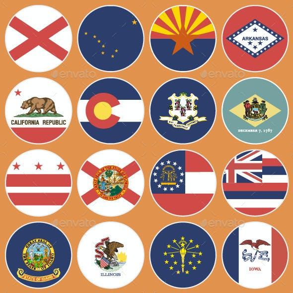 Flat Flag Icons US States