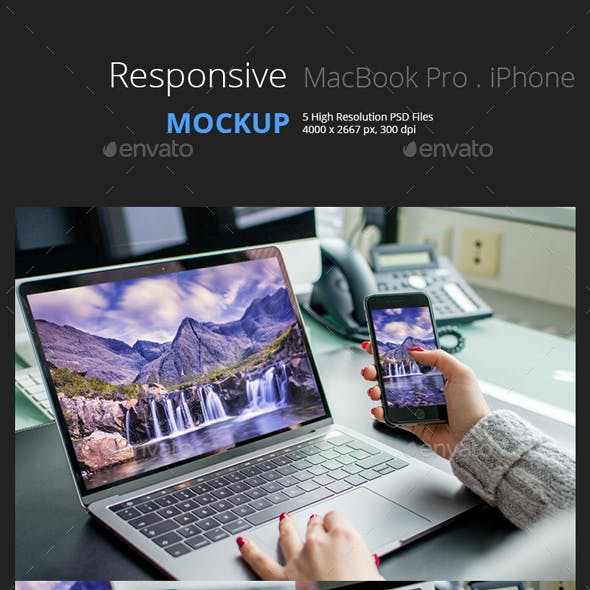 Responsive MockUp - Phone and Laptop in Office