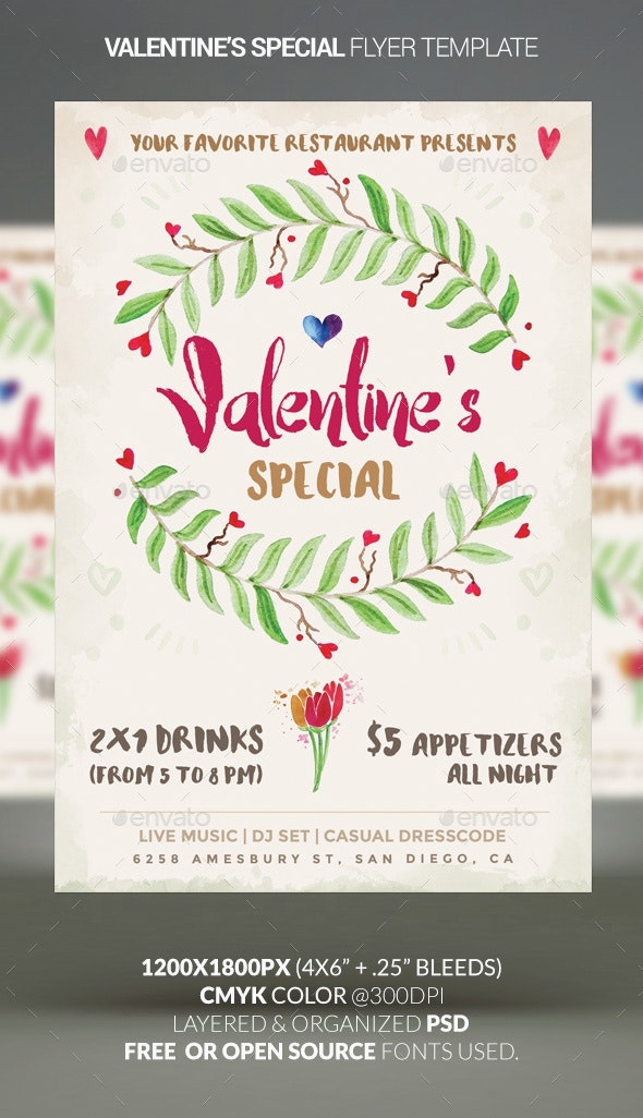 Valentine's Special — Restaurant Special Flyer - Holidays Events