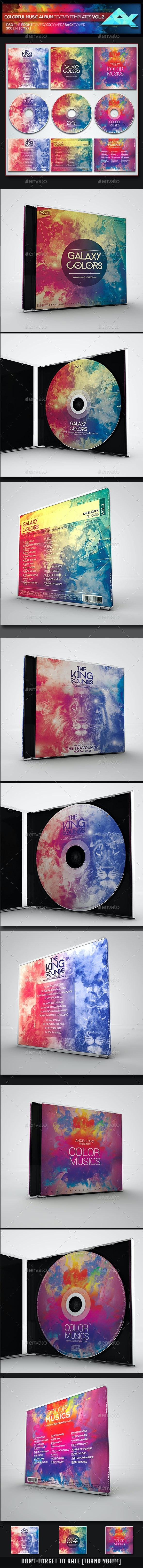 Colorful CD/DVD Album Covers Bundle Vol. 2 - CD & DVD Artwork Print Templates