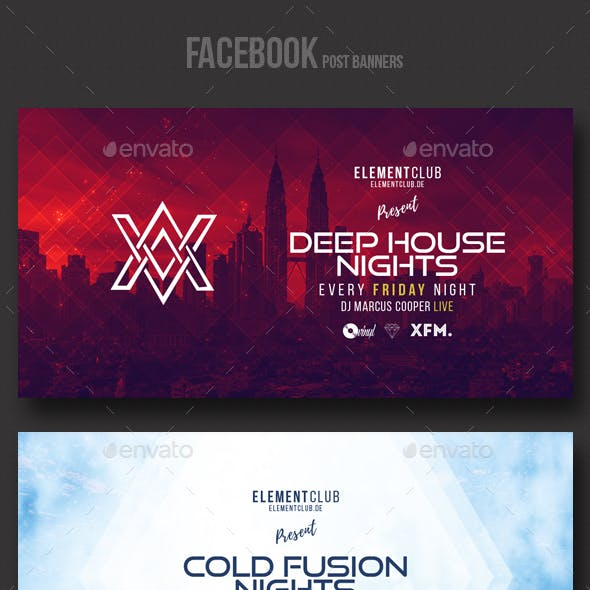 Electronic Music Party vol.12 - Facebook Post Banner Templates
