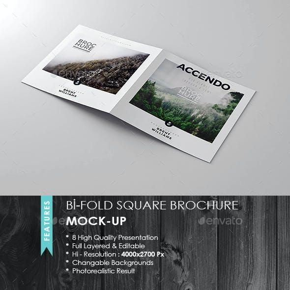 Bi-Fold Square Brochure Mock-up