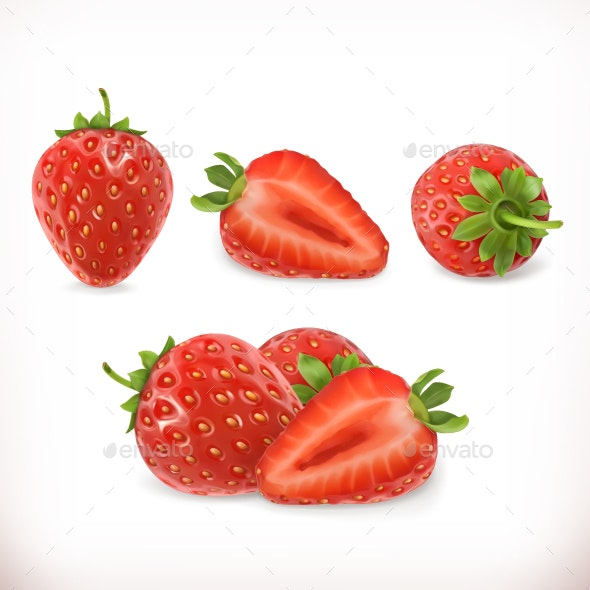 Strawberry. 3d Vector Icons Set - Food Objects