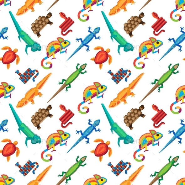 Reptiles Animals Vector Seamless Pattern. - Backgrounds Decorative