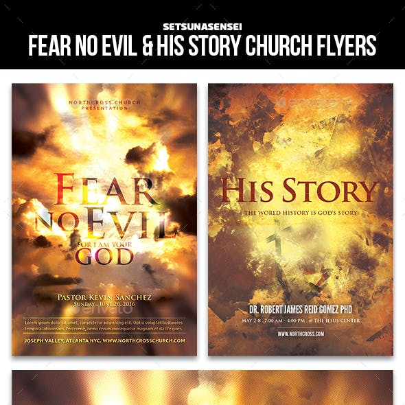 Fear No Evil & His Story Church Flyers