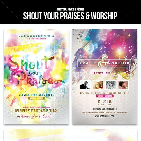 Shout your Praises & Worship Church Flyers
