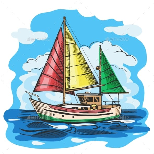 Sailing Boat Colored Vector Sketch with Clouds