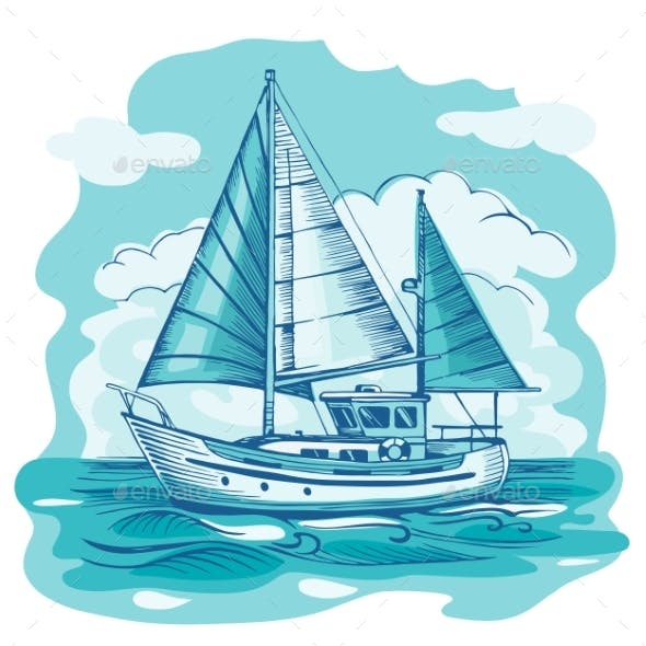 Sailing Boat Monochrome Vector Sketch  with Clouds