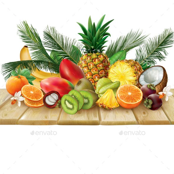 Tropical Fruits Collection on a Wooden Surface