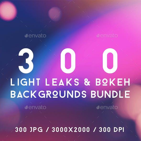 300 Light Leaks & Bokeh Backgrounds Bundle