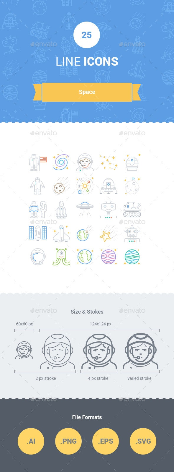 25 Space Line Icons - Miscellaneous Icons