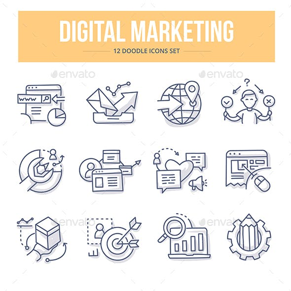 Digital Marketing Doodle Icons