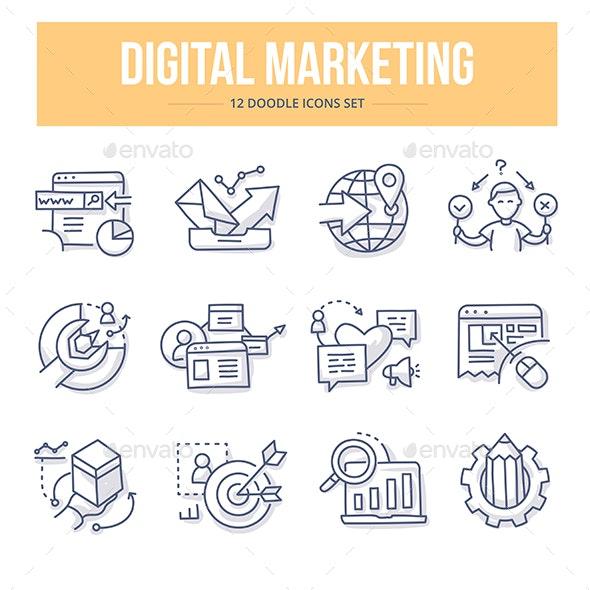 Digital Marketing Doodle Icons - Technology Icons