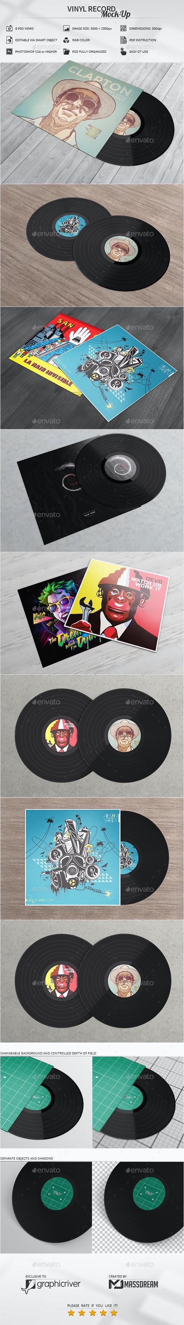 Vinyl Record Mock-Up - Product Mock-Ups Graphics