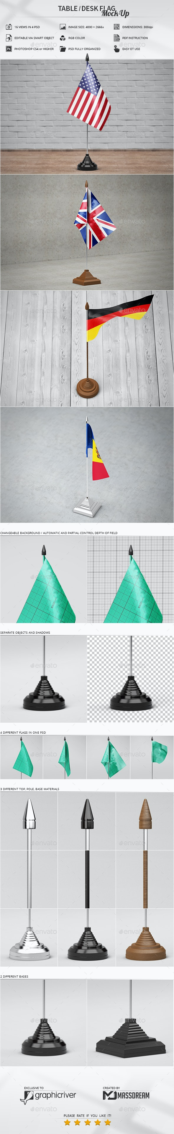 Table / Desk Flag Mock-Up - Miscellaneous Print