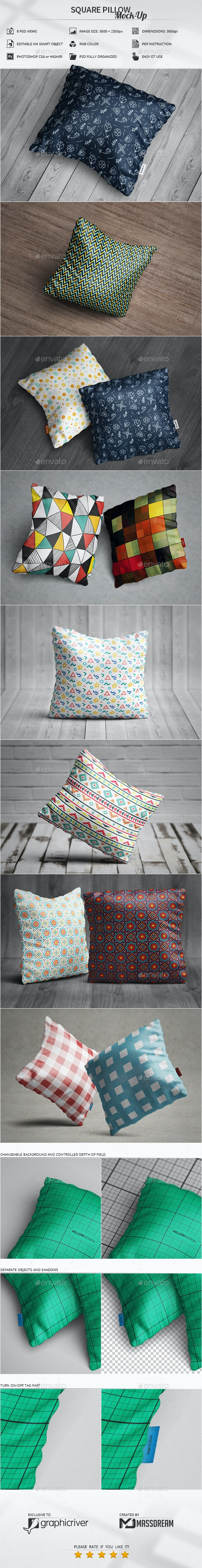 Square Pillow Mock-Up - Apparel Product Mock-Ups