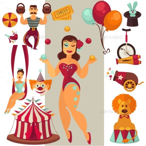 Flat Vector Circus Icons Set
