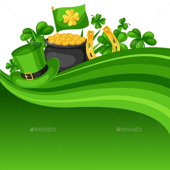 Saint Patricks Day Card. Flag, Pot of Gold Coins