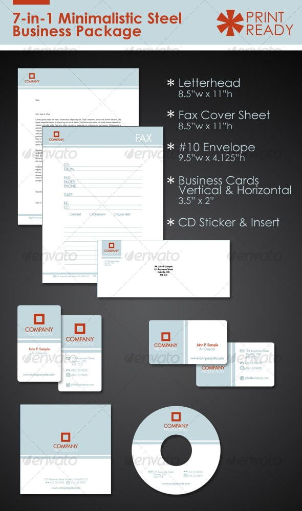 7-in-1 Minimal Steel Business Package Kit - Stationery Print Templates