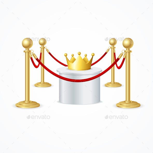 Gold Crown and Red Rope Barrier