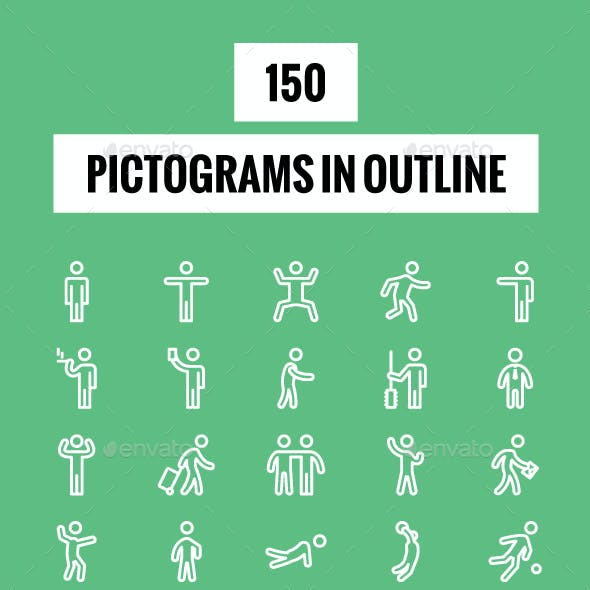 150 Pictograms in Outline