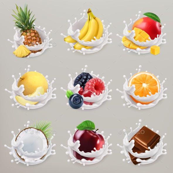 Fruit, Berries and Yogurt Icon Set