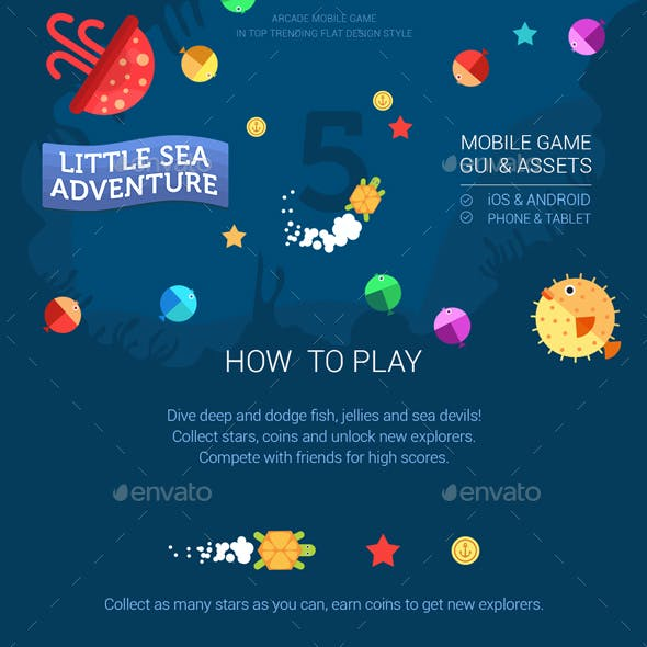 Full Game Kit Little Sea Adventure Mobile Arcade Game Assets