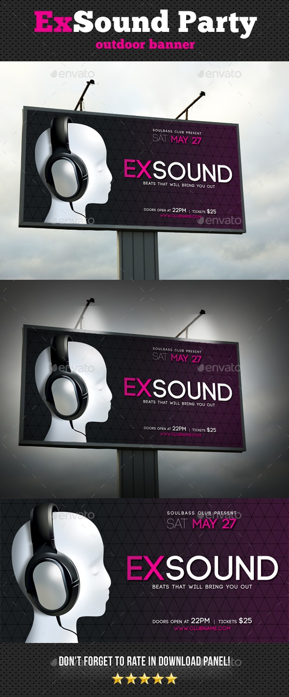 Exsound Party Outdoor Banner - Signage Print Templates