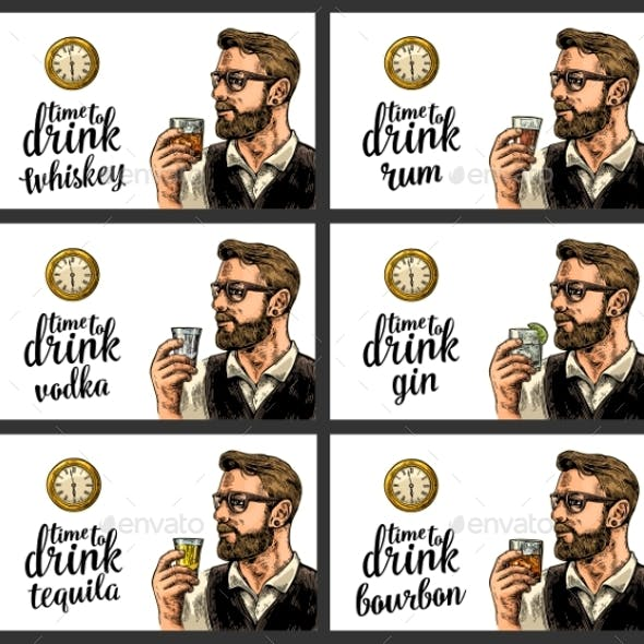 Hipster Holding a Glasses Alcohol Drinks